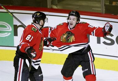 Chicago Blackhawks center Andrew Shaw, right, celebrates with Marian Hossa (81) after Shaw's second goal of the night, during the second period of an NHL hockey game against the Nashville Predators in Chicago on Jan. 12, 2016. Forward Andrew Shaw agreed to a six-year contact with the Montreal Canadiens on Monday night. Shaw scored 14 goals and registered 34 points in 78 games last season. He also was a standout during the playoffs, posting six points - including four goals - in six games. THE CANADIAN PRESS/AP, Charles Rex Arbogast