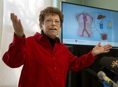 Mavis McArdle speaks to the media at the Royal Victoria Hospital on the 20th anniversary of her liver transplant Friday, December 19, 2014 in Montreal. McArdle was kept alive for several hours with the use of a pig's liver until a human liver was available.THE CANADIAN PRESS/Ryan Remiorz