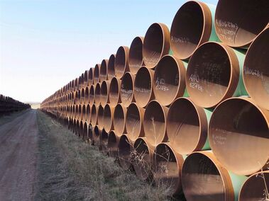 A yard in Gascoyne, ND., which has hundreds of kilometres of pipes stacked inside it that are supposed to go into the Keystone XL pipeline, is shown on Wednesday April 22, 2015. TransCanada Corp. is moving forward with its attempt to seek more than $15 billion compensation under the North American Free Trade Agreement following the U.S. government's rejection of the company's proposed Keystone XL pipeline.THE CANADIAN PRESS/Alex Panetta