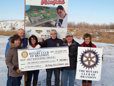 The Rotary Club of Brandon No. 1344 and The Rotary Club Westman Foundation have contributed $100,000 to the Ashley Neufeld Softball Complex Inc. for the naming rights to a softball diamond in the developing complex. This is a huge step in support of the project and certainly is in keeping with Rotary's focus on community and children.