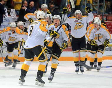 Ivan Provorov, Jayce Hawryluk and the Brandon Wheat Kings celebrate a Game 5 win over the  Red Deer Rebels at Westman Place on Friday, making them the Eastern Conference champions for the second year straight.