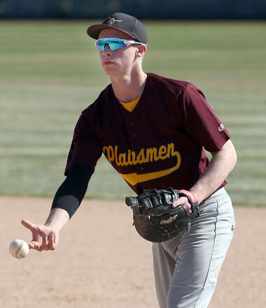 Jared Bridges, seen here during a Prairie West High School baseball game on Sunday afternoon, is a leader for the Crocus Plainsmen despite being in Grade 10.