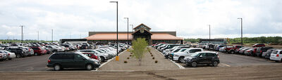 Vehicles fill the parking lot at the Sand Hills Casino south of Carberry on Monday as the 31,000-square-foot gaming centre officially opened after years of work.