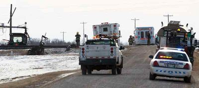 RCMP say a 44-year-old RM of South Cypress farmer was transported to hospital after a tractor was struck by an eastbound CP Rail train at an uncontrolled railway crossing just south of the Trans-Canada Highway on Road 93W at around 11:50 a.m. Tuesday. As of Tuesday evening, the victim's condition was not known.