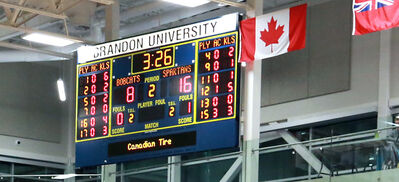 The scoreboard in the main gym of Brandon University's Healthy Living Centre. BU says Investors Group is donating $50,000 toward the HLC. The company is sponsoring the score clock.