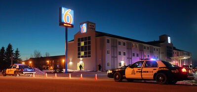 Police arrive at the Brandon Motel 6 after Terry Craig was killed by his son in April 2013. Found not criminally responsible, Dana Craig remains under lockdown in the forensic unit at Health Sciences Centre in Winnipeg.