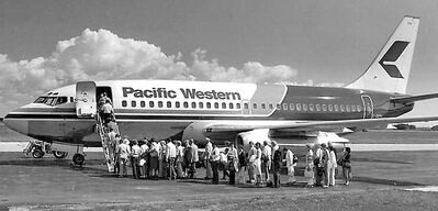 The first passengers out of Brandon on Pacific Western in 1981.