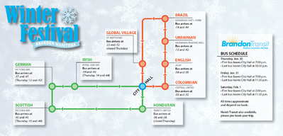 This simplified map of the Lieutenant-Governor's Winter Festival bus routes shows estimated times of arrival at the various pavilions as well as the order in which the bus will visit them.