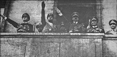 German Chancellor Adolf Hitler, centre-right, with moustache, gives the Nazi salute from a balcony, along with German and Italian dignitaries after the signing of a Germany-Italy non-aggression pact in June 1939. This was one of several photos of the German leader published in the Brandon Daily Sun in the lead-up to the Second World War.