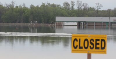Ducks land on the water covering the playing fields at the Optimist soccer park during spring flooding.