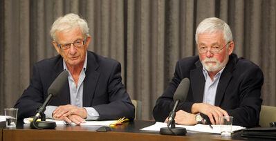 David Farlinger, left and Harold Westdal announce the results of the flood review this morning.