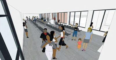 Artist's renderings shows boarding lounge plans for the Brandon Municipal Airport expansion commissioned by the City of Brandon.