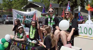 Members of the Deloraine Community 4-H Club sing happy birthday to the organization which is celebrating 100 years in Canada this year.