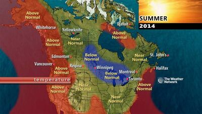 The 2014 summer outlook from the Weather Network predicts slightly below normal temperatures for Westman.