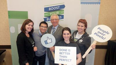 Brandon-Souris Conservative MP Larry Maguire, centre, is seen with representatives from Facebook Canada during a Brandon Chamber of Commerce-sponsored small business conference on Thursday.