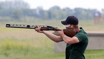 Brandon's Pat Lamont takes careful aim at a target at the provincial trap shooting championships over the weekend at the Brandon Gun Club. Lamont won the singles and doubles titles.