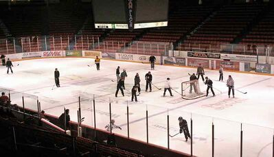 People play a game of shinny on the ice at Westman Place on Tuesday.