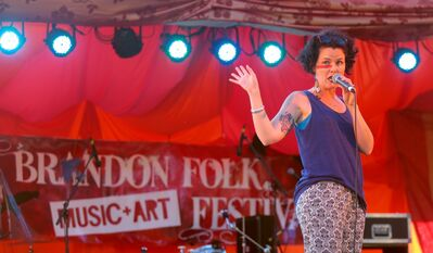 Winnipeg singer-songwriter Iskwé performed on the stage during the opening night of the 30th annual Brandon Folk Music and Art Festival on the Keystone Centre grounds.