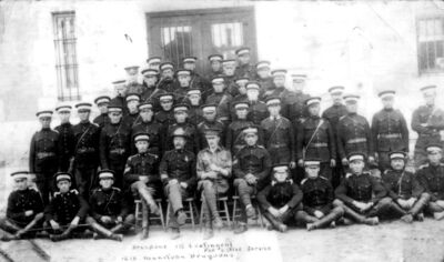 Brandon's first contingent for active service, the 12th Manitoba Dragoons, circa 1914.