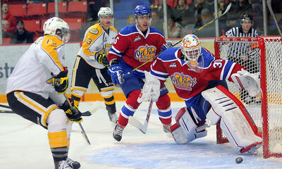 Edmonton Oil Kings goaltender Tristan Jarry slides across the ice to block a shot from Brandon Wheat Kings John Quenneville during Game 3 of their WHL playoff series at Westman Place on Tuesday night. Edmonton won 5-2 to take a 3-0 lead in the best-of-seven series.