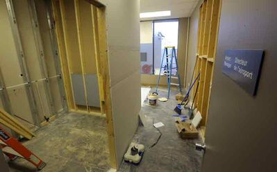 Construction of a single public washroom in the departures lounge continues at the Brandon Municipal Airport.