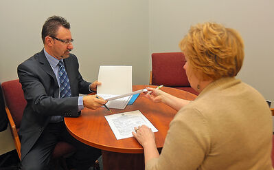 Mayoral candidate Rick Chrest submitted his nomination papers to deputy city clerk Heather Ewasiuk at city hall on Thursday.