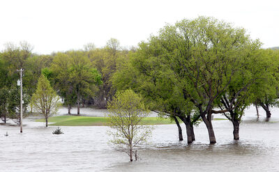 The floodwaters at Wheat City Golf Course in 2011.