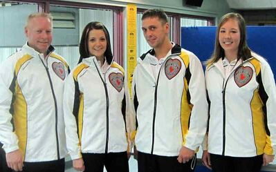 Terry McNamee (left) and his provincial mixed curling team of Kerri Einarson, Kyle Einarson and Stacey Fordyce at a sendoff Tuesday night at the Brandon Curling Club.