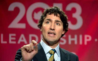 Federal Liberal Leadership candidate Justin Trudeau speaks during a debate in Vancouver on Sunday.