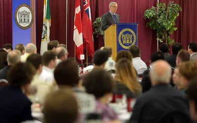 Premier Greg Selinger delivers his State of the Province address to members of the Brandon Chamber of Commerce at the Keystone Centre on Thursday.