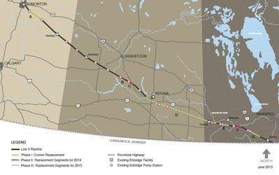 Enbridge wants to replace a 20-kilometre stretch of pipeline near Cromer and a 40-kilometre stretch east of Brandon.
