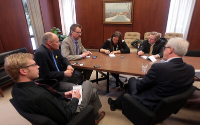 Selinger, right, along with Brandon East NDP MLA Drew Caldwell, second from left, address members of the Sun's editorial board, including, from left, reporter Graeme Bruce, O'Connor, reporter Jillian Austin and city editor Matt Goerzen.