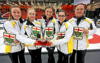 Chelsea Carey and her rink, Kristy McDonald, Kristen Foster, Lindsay Titheridge and coach Dan Carey, celebrate after defeating Kerri Einarson in the final of the Scotties provincial curling championship at Tundra Oil & Gas Place in Virden on Sunday.