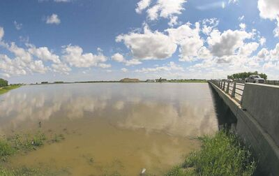 The Portage Diversion channel is at maximum capacity Wednesday.