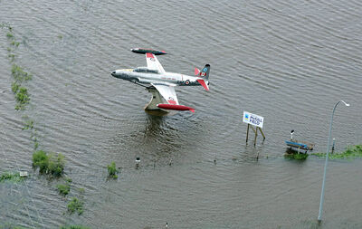 The approach to the Brandon airport is seen after heavy weekend rainfall left a swath of flooding across southwestern Manitoba.