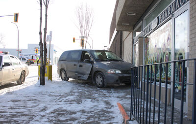 A van crashed into the Medical Centre Super Thrifty Pharmacy early Saturday afternoon.