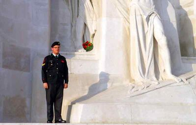 Master Bombardier Michael Brooks, from Brandon's 2520 Royal Canadian Army Cadet Corps – 71 Bty RCA Cadets, stands at the Canadian war memorial at Vimy Ridge.