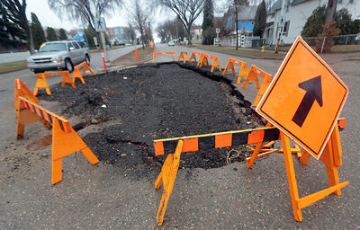 Repairs have yet to be completed to the large sink-hole at the intersection of Lorne Avenue and First Street. Southbound lanes on First Street are currently reduced to a single lane to avoid the large crater.