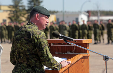 CFB Shilo base commander Lt-Col. Stephen Joudrey addresses the soldiers and guests on Friday.