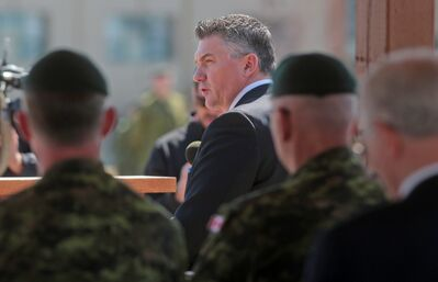 Parliamentary Secretary to the Minister of Defence James Bezan addresses the soldiers on parade representing the various units deployed to Afghanistan during Friday's National Day of Honour held at CFB Shilo.