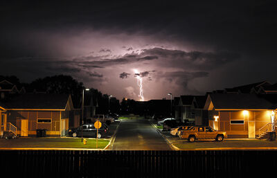 Lightning strikes to the east of Camryn Lane in Brandon's south end as a severe thunderstorm moves into Brandon late Saturday night. Emergency crews were busy responding to a variety of calls for downed trees, power lines and flooding from the heavy rain.