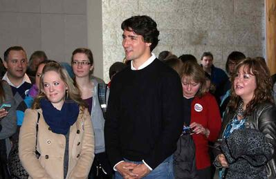 Liberal leadership candidate Justin Trudeau made a stop at Brandon University on Thursday morning.