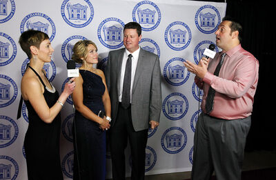 Amber Vandale, left, and Tyler Glenn, right, with Star FM interview Sheila and PJ Crane on the red carpet as they enter the Brandon Chamber of Commerce 131st annual Gala Dinner at the Keystone Centre on Thursday evening. The annual dinner is a major fundraising event for the local chamber.