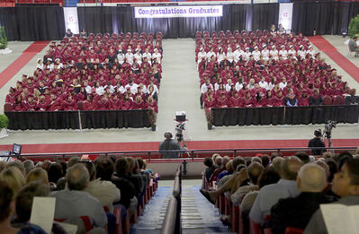 Graduates take their seats during Assiniboine Community College convocation ceremony at the Keystone Centre on Thursday.