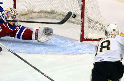 Brandon's Richard Nejezchleb beats Edmonton netminder Tristan Jarry to open the scoring on Wednesday.