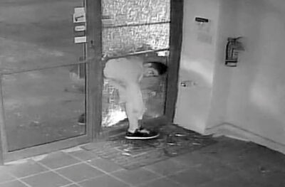 Photos taken from surveillance video show a man smashing his way into All Points Electric Ltd. early Thursday, then trying to leave through the still-solid glass pane head first. If you recognize this man, call the Brandon police.