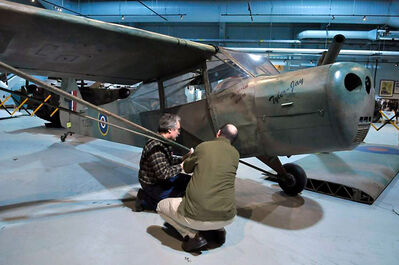 The Taylorcraft Auster Mark V, which arrived from England last fall, is now on display at the RCA Museum at CFB Shilo. The Second World War aircraft was flown in action by Canadian gunner officers from 665 Air Observation Post Squadron.