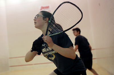 Alex Murray winds up to return the ball during her under-16 girls championship match against Natalie Houle in the provincial junior racquetball championships at the Sportsplex on Saturday. Murray defeated Houle in two sets, 15-1 and 15-0.