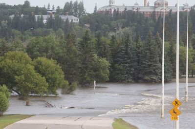 Water flowing over a section of First Street North has started to recede leaving behind a layer of mud and debris. The Assiniboine River has gone down somewhat on parts of First Street North, but assessment has yet to begin. Manitoba Infrastructure and Transportation is responsible for the assessing the condition of the road and making the necessary repairs. The road is under provincial jurisdiction as an extension of Highway 10. An assessment will not be made until the water is completely off the road and it could remain closed for a few more weeks.