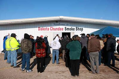 A crowd gathers for the grand opening of the Dakota Chundee Smoke Shop on Highway 2 east of Pipestone last year.